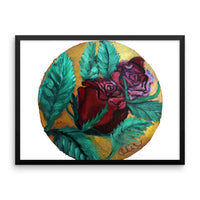 """Red Rose Series Part 1 in Gold"", Framed photo paper poster, Made in USA - alicechanart"