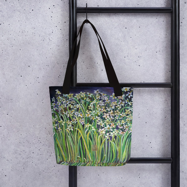 "Narcissus Water Lilies, 15""x15"" Designer Fine Art Tote Bag, Floral Art, Made in USA/Europe"
