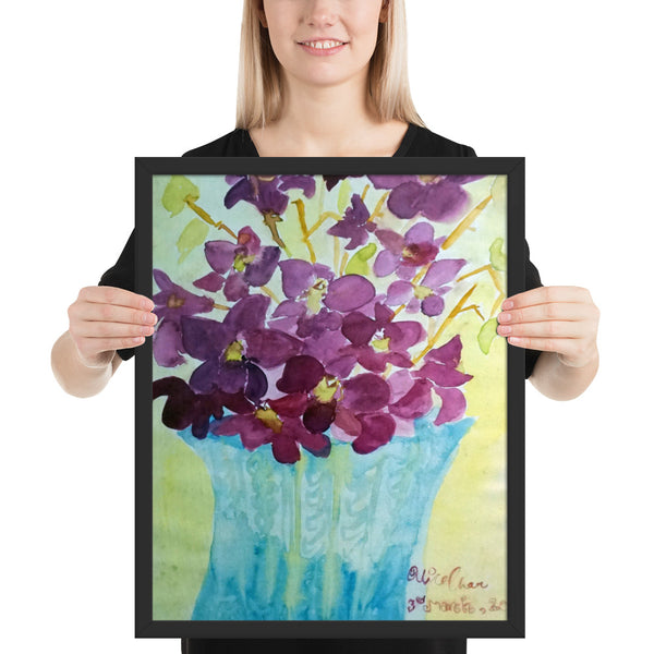 """Curious Exotic Wild Purple Orchids"" Floral Framed Poster Art Print, Made in USA"