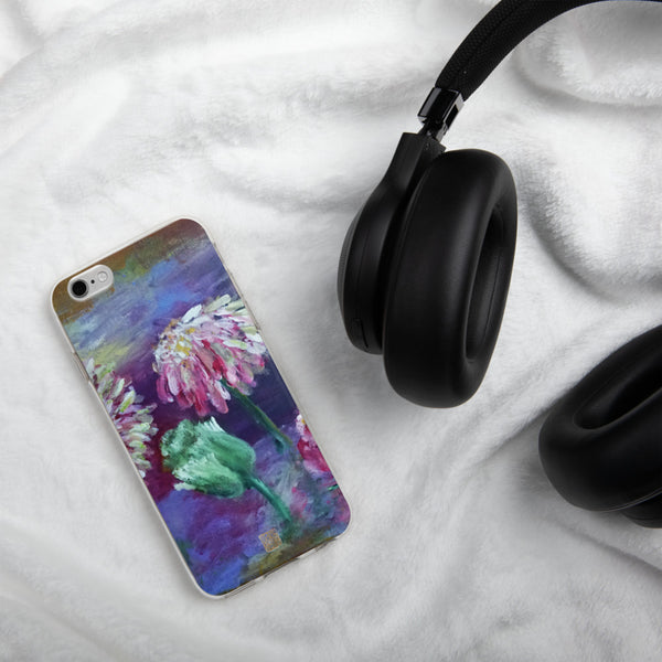 Pink Flowers Floating on the Lake, iPhone Floral Print Girlie Unique Phone Case, Made in USA - alicechanart