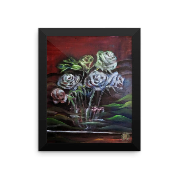 """Ghost Roses"" - Floral Rose, Framed Photo Paper Poster, Made in USA - alicechanart"