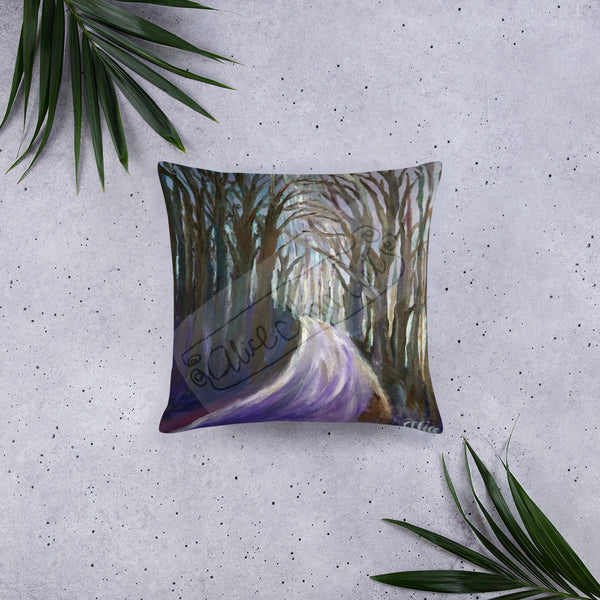 """Purple Hiking Trail"", Mountain Landscape Designer Basic Pillow 18""x18""/ 20""x12"", Made in USA"