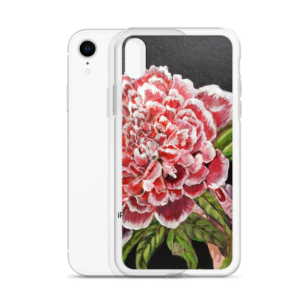 Chinese Red Peony Flower in Black, Floral Print Designer iPhone Case- Made in USA/ EU - alicechanart
