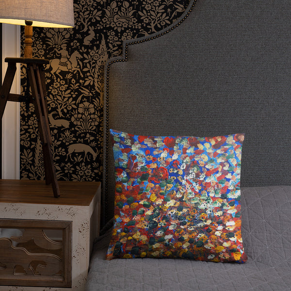 Raindrops 2/3  Designer Abstract Artistic Dotted Basic Pillow, Made in the USA - alicechanart