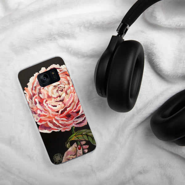 Pink Chinese Peonies Floral Print Designer Samsung Case- Made in USA/ EU - alicechanart
