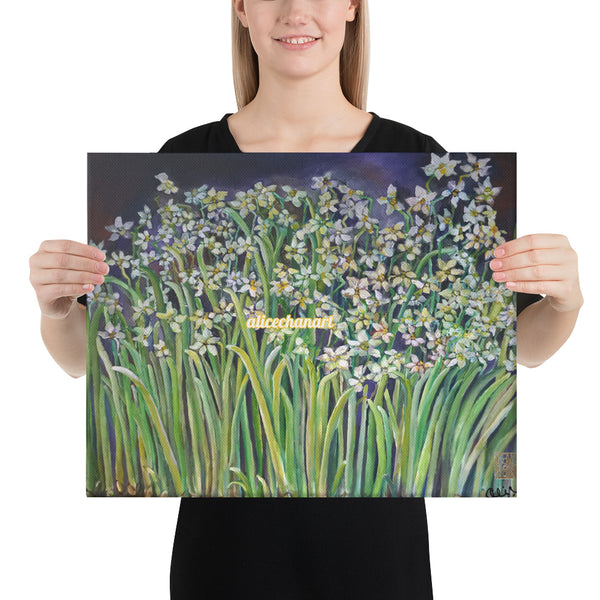 Narcissus Water Lilies, 2015, Floral Canvas Art Print, Made in USA - alicechanart
