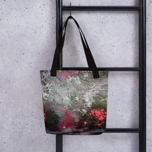 Gray Red Acrylic Pour Abstract Art Print Market Designer Tote Bag- Made in USA/ EU - alicechanart