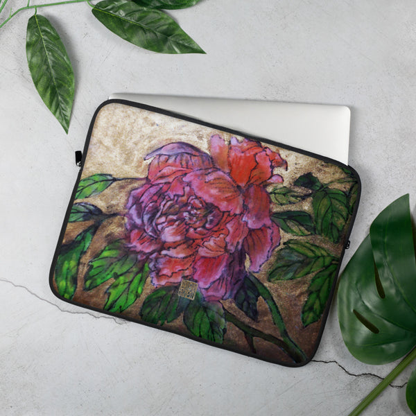 "Pink Peonies in Gold, Designer Chinese Floral Art Print- 13""/15"" Snug Fit Stylish Art Laptop Sleeve-Printed in USA/ Europe"