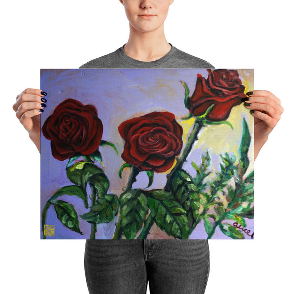 Summer Red Roses in Purple Sky, Floral Poster Art Print, Made in USA - alicechanart