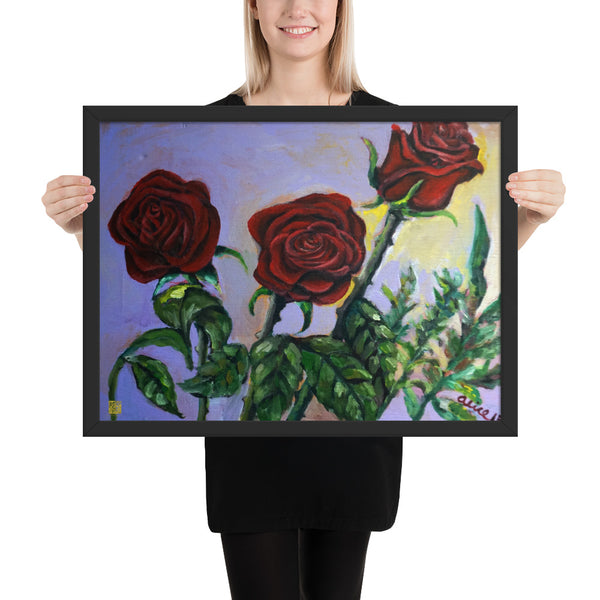 Summer Red Roses in Purple Sky, Framed Matte Poster Art Print Made in USA