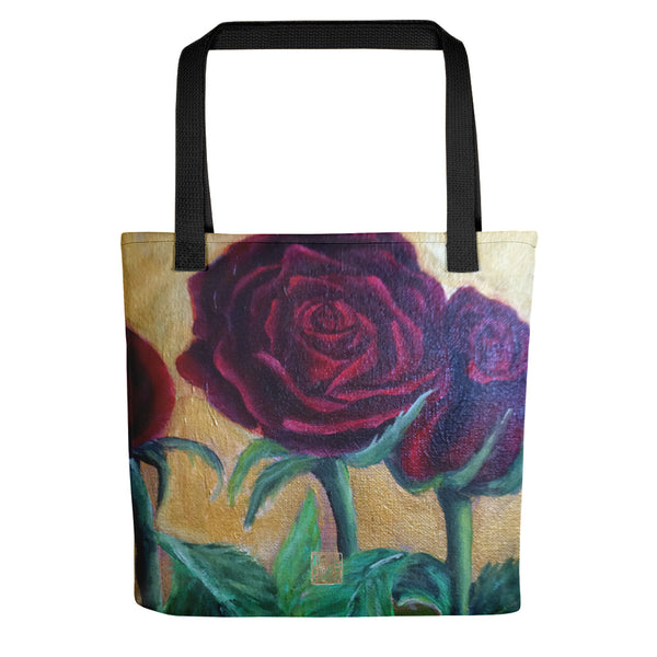 "Red Roses In Gold Accent Floral Print 15""x15""Art Designer Tote Bag, Made in USA/ EU - alicechanart"