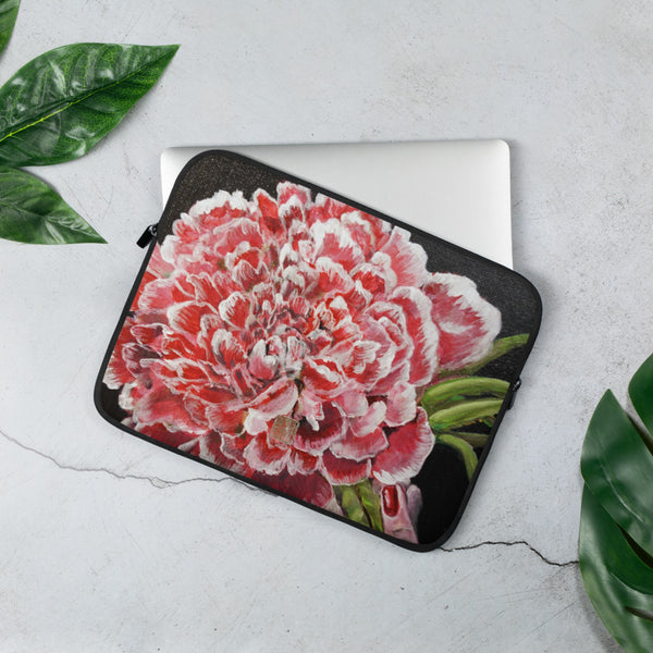 Chinese Peony, Red Floral Print Designer Laptop Sleeve - 15 in/ 13 in, Snug Fit Stylish Art Laptop Sleeve-Printed in USA/ Europe