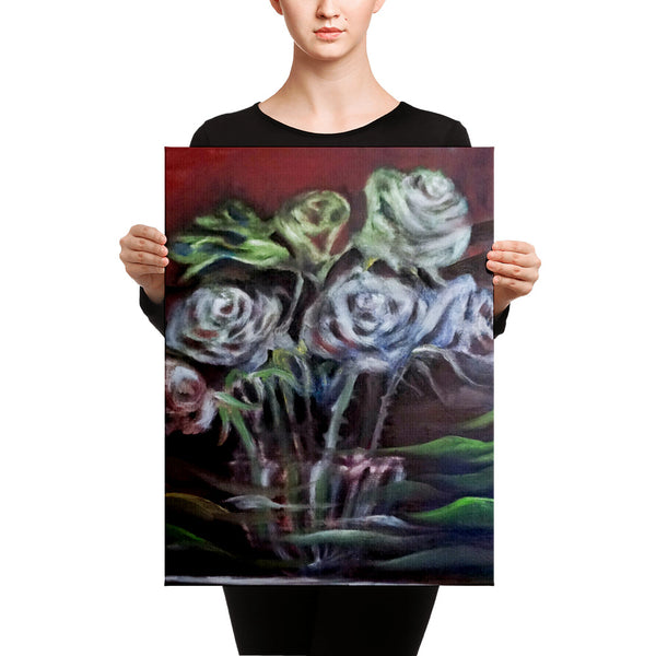 """Ghost Roses"", Floral Rose Flower, Canvas Art Print, Rose Flower Fine Art, Made in USA - alicechanart"