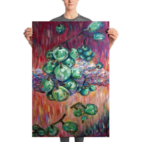 """Falling Green Grapes From The Red Hot Sky"", Poster Art Print, Made in USA - alicechanart"