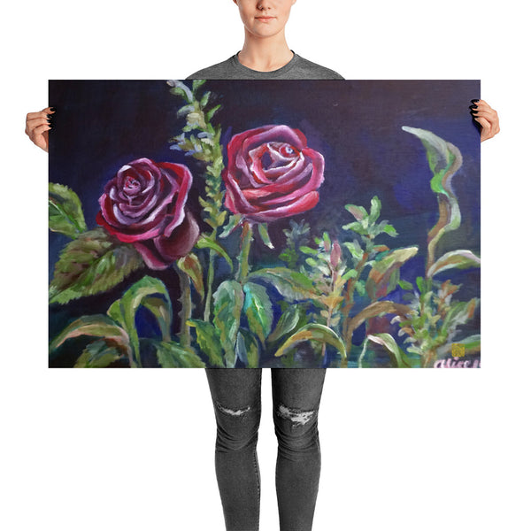 Vampire Red Rose Floral Drawing Poster Art Print, Made In USA