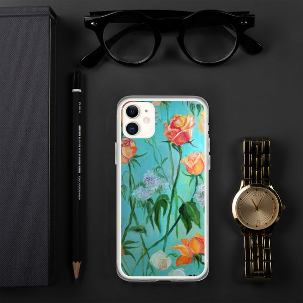 Orange Roses in Turquoise Blue, Floral Art Designer iPhone Case, iPhone 7/6/7+/ 6/6s/ X/XS/ XS Max/ XR/ 11/ 11 Pro/ 11 Pro Max Phone Case, Made in USA