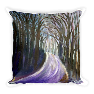 """Purple Hiking Trail"", Mountain Landscape Designer Basic Pillow 18""x18""/ 20""x12"", Made in USA - alicechanart"