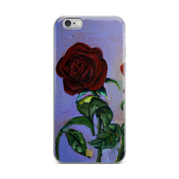 Red Roses in Purple Sky, Floral  iPhone 7/6/7+/ 6 / 6s/ X/XS/ XS Max/XR Case, Made in USA - alicechanart Red Roses Floral Phone Case, Red Roses in Purple Sky, Floral  iPhone 7/6/7+/ 6/6s/ X/XS/ XS Max/XR/ 11/ 11 Pro/ 11 Pro Max Phone Case, Made in USA/EU