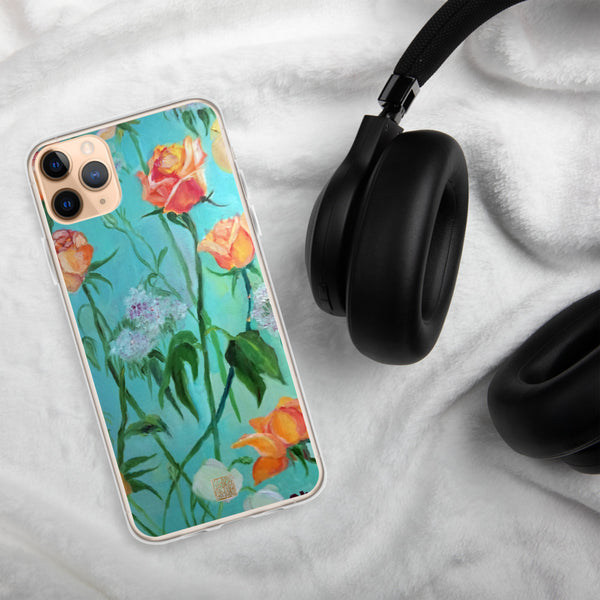 Orange Roses in Turquoise Blue, Floral Art iPhone Case, Made in USA - alicechanart