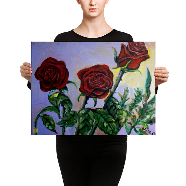 Red Roses In Purple Sky, Floral Rose Canvas Art Print, Red RoseFlower Fine Art, Made in USA