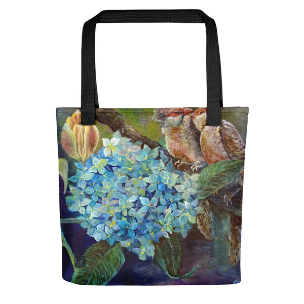 "Happy Singing Birds Chirping on Branch, 15""x15"" Square Art Tote Bag, Made in USA - alicechanart"