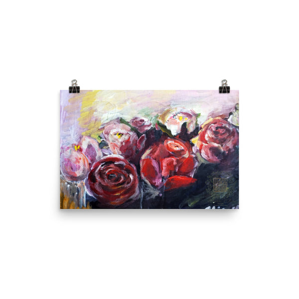 """French Roses"", Floral Rose Matte Premium Quality Poster Art Print, Made in USA - alicechanart"