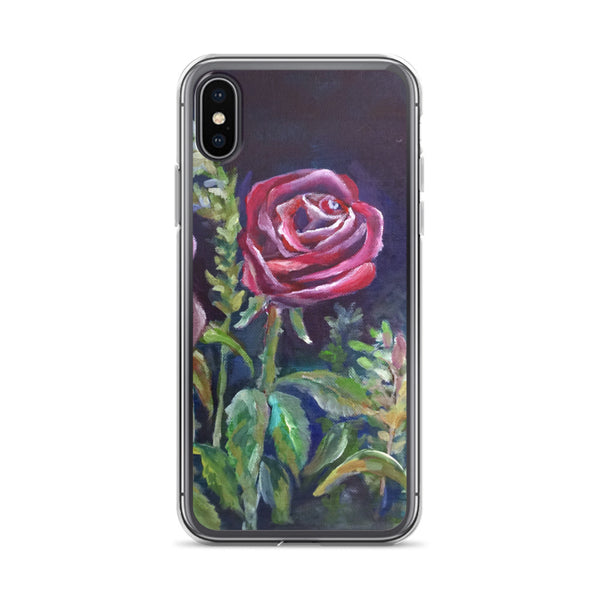 Romantic Red Rose Floral Print iPhone 7/6/7+/ 6 / 6s/ X/XS/ XS Max/XR Case, Made in USA - alicechanart