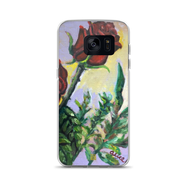 Red Roses in Purple Sky, Floral Samsung Galaxy S7, S7 Edge, S8, S8+, S9, S9+ Phone Case, Made in USA - alicechanart