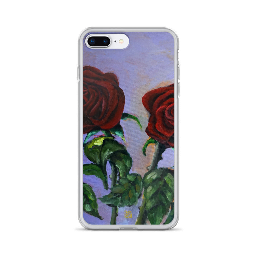 Spring Red Roses in Purple Sky, Floral iPhone 7/6/7+/ 6 / 6s/ X/XS/XS Max/XR Case, Made in USA - alicechanart Purple Red Roses Phone Case, Spring Red Roses in Purple Sky, Floral iPhone 7/6/7+/ 6/6s/ X/XS/ XS Max/XR/ 11/ 11 Pro/ 11 Pro Max Phone Case, Made in USA/EU