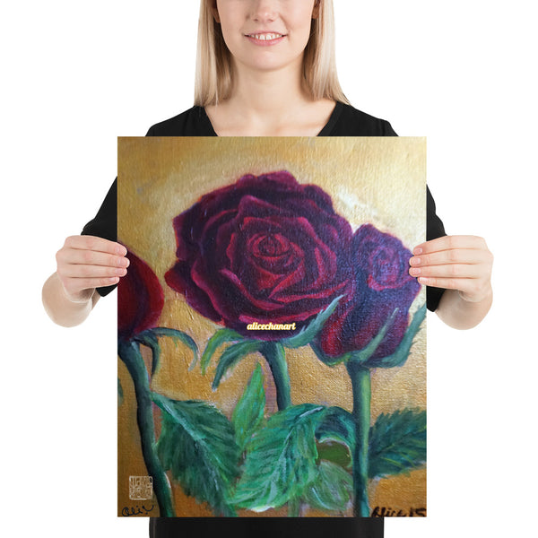 Red Roses in Gold Accent, 2015, Poster Art Print, Made in USA - alicechanart
