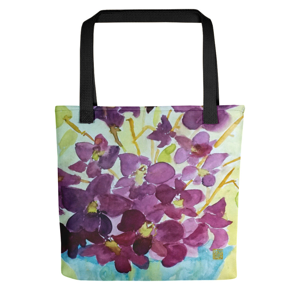 """Curious Exotic Wild Purple Orchids"" 15""x15"" Square Tote Bag, Made in USA/ Europe - alicechanart Purple Orchids Tote Bag, Purple Orchid Floral Print, 15""x15"" Designer Fine Art Tote Bag, Abstract Art, ""Curious Exotic Wild Purple Orchids"", Made in USA/Europe, Orchid Tote Bag, Orchid Flower Tote Bags"