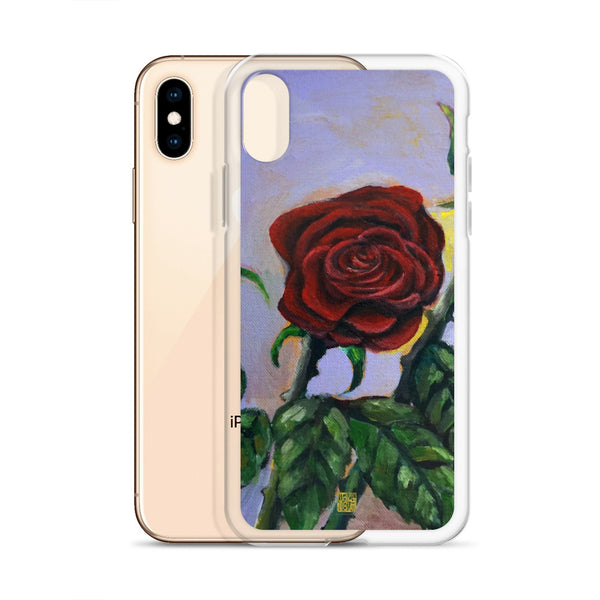 Red Rose in Purple Sky, Floral Print iPhone Case for iPhone Case, Made in USA - alicechanart