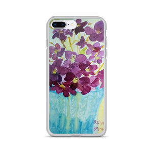 """Curious Exotic Wild Purple Orchids"" Clear Floral iPhone Phone Case, Made in USA - alicechanart Purple Orchid Phone Case,""Curious Exotic Wild Purple Orchids"" Clear Floral Print, iPhone 7/6/7+/ 6/6s/ X/XS/ XS Max/ XR/ 11/ 11 Pro/ 11 Pro Max Phone Case, Made in USA/EU"