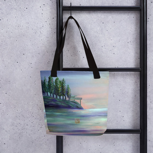 "West Seattle, Landscape Art, 15""x15"" Designer Fine Art Tote Bag, Landscape Art, Made in USA/Europe"