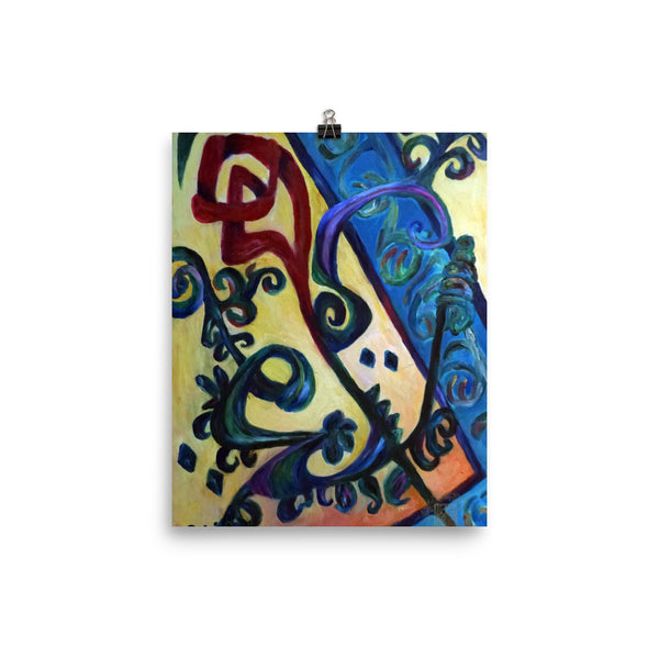 """Red Rose Abstraction of Strength in Arabic"", Photo Paper Poster, Made in USA ""Red Rose Abstraction of Strength in Arabic"", Photo paper poster"