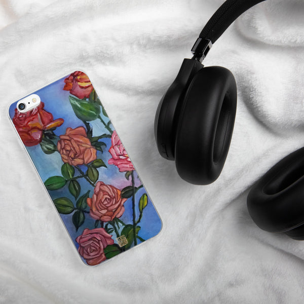 "Pink Roses in Pond"" Pastel Blue Floral Print Art, iPhone Case, Made in USA, Rose Phone Case, Pink Floral Rose iPhone Case, Roses Phone Case iPhone 7