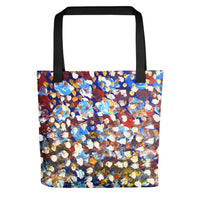 """Raindrops 1/3"", 15""x15"" Square Abstract Art Print Designer Tote Bag, Made in USA - alicechanart"