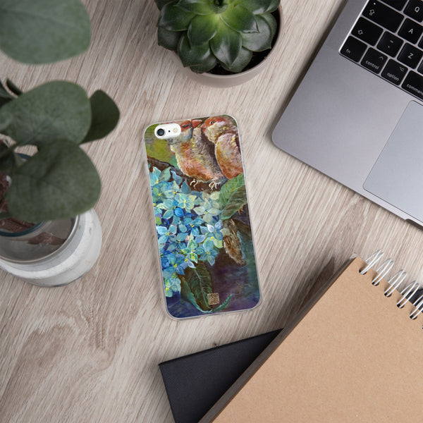 """Morning Chirping Bird"", WIldlife Hydrangea Floral Print iPhone 7/6/7+/ 6 / 6s/ X/XS/ XS Max/XR Case, Made in USA"