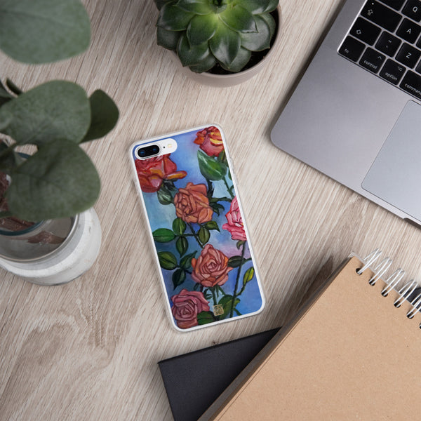 """Pink Roses in Pond"" Pastel Blue Floral Print Art, iPhone Case, Made in USA - alicechanart"