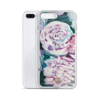 White Roses in Water, Blue White Rose Floral Print Art iPhone Phone Case- Made in USA/ EU - alicechanart