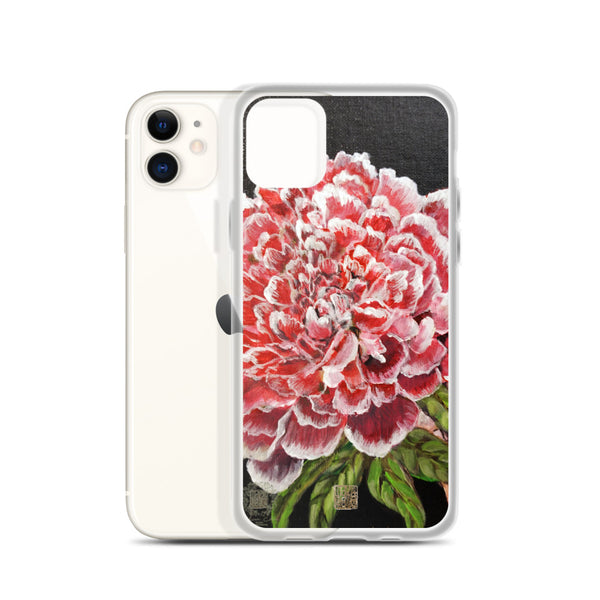 Red Chinese Peony, Floral Art Designer iPhone Case, iPhone 7/6/7+/ 6/6s/ X/XS/ XS Max/ XR/ 11/ 11 Pro/ 11 Pro Max Phone Case, Made in USA