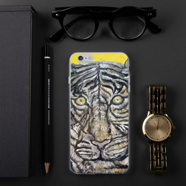 Orange-Eyed White Bengal Tiger, iPhone 7/6/7+/ 6/6s/ X/XS/ XS Max/XR Case, Made in USA