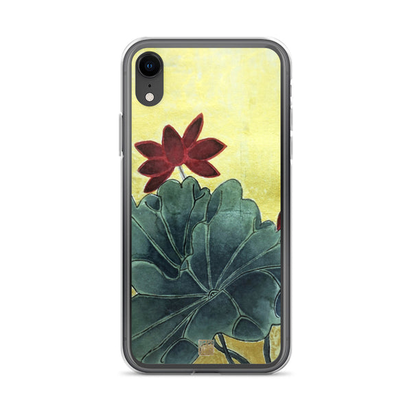 Lotus Floral iPhone Case, Chinese Ink Art Flower 11/ 11 Pro Phone Case-Made in USA/EU