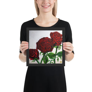 Triple Red Roses in Silver, Framed Art Poster Print, Made in USA - alicechanart