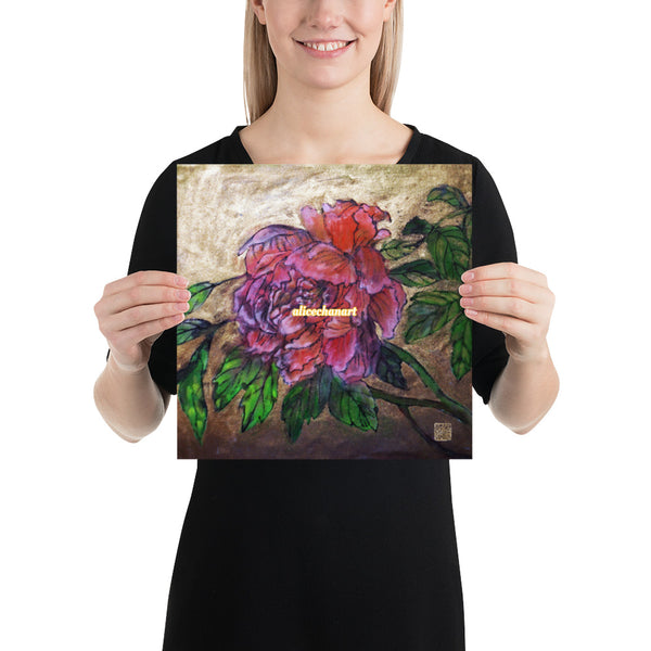 Pink Peony Chinese Floral Art Print Poster, 2019, Made in USA
