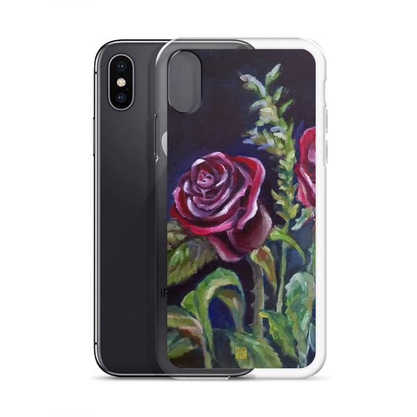 Vampire Red Climbing Rose Floral iPhone Case, Made in USA - alicechanart