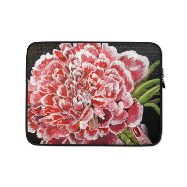 Red Chinese Peony, Red Floral Print Designer Laptop Sleeve - 15 in/ 13 in - alicechanart