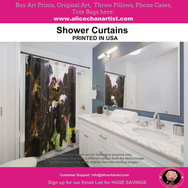 White Art Shower Curtains, Modern Abstract Polyester Bathroom Curtains-Printed in USA