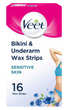 Bikini and Underarm Cold Wax Strips for Sensitive Skin 16 Strips