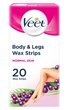 Body & Legs Cold Wax Strips for Normal Skin, Pack of 20